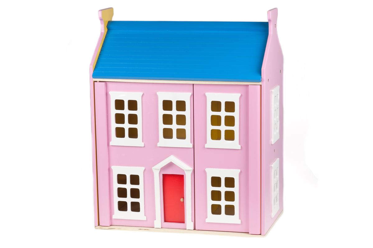 """Pink Wooden Doll""""s House Including Furniture"""